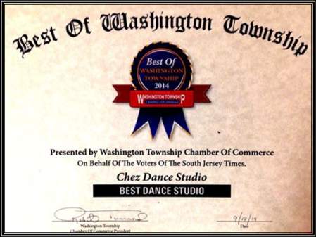 Thank you to everyone who voted Chez Dance Studio #1 in Washington Township!