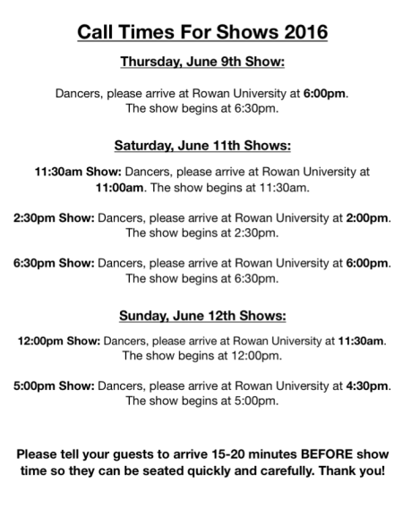 Call Times for Show 2016